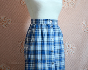 VINTAGE 90s plaid button down maxi skirt size XS/S