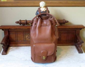 Spring Sale Coach Handle Backpack In British Tan Leather With Brass Hardware Style No 9992- Made In United States- VGC