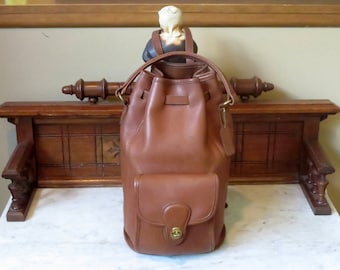 Coach Handle Backpack In British Tan Leather With Brass Hardware Style No 9992- Made In United States- VGC