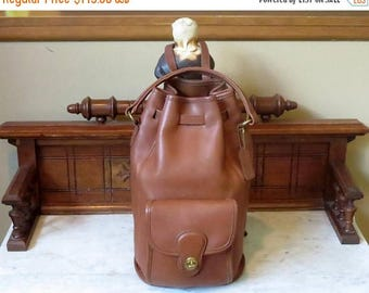 Back To School Sale Coach Handle Backpack In British Tan Leather With Brass Hardware Style No 9992- Made In United States- VGC