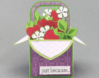 Handmade Strawberry Patch box card purple