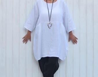 Ladies Lagenlook Plus Size Clothing, Womens Shirt, Blouse, Plus Size Tunic, Linen Top, UK 16 18 20 22 24 26/US 14 16 18 20 22 24  8623