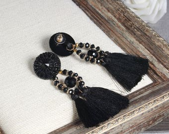 Tassel Earrings, Drop Earrings, Black Tassel Earrings, Boho Tassel Earrings,Tassel Dangle Earrings, For Women, Tassel Jewelry