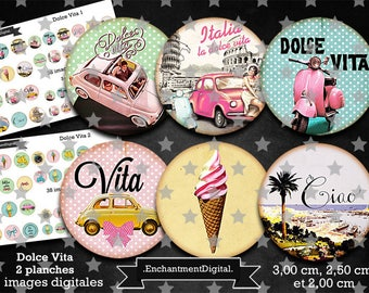 digital images x 76 retro * Dolce Vita * Italy travel car sea scooter was vintage collage digital scrapbooking cabochon jewel
