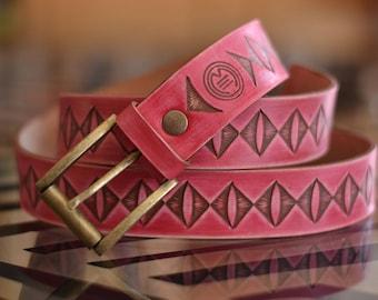 Leather belt /Handmade/Hand-tooled leather belt/Vintage style/ Pink/Fucsia Belt/For her/ Original Belt