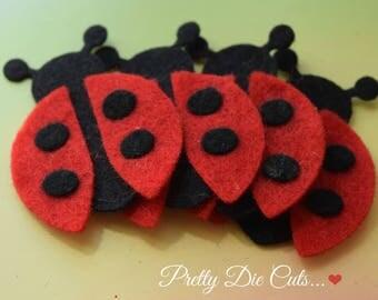 Felt Ladybirds (style 2), felt ladybugs, craft insects, felt shapes, pretty die cut craft embellishments,
