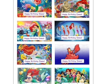 8 PERSONALIZED Printed Little Mermaid stickers, birthday party favors, Ariel stickers, Custom Made