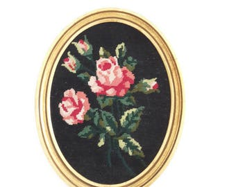 Vintage french needlepoint tapestry roses