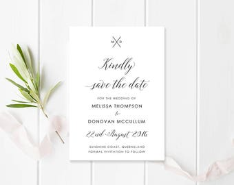 Wedding Save the Date, Black and White Monogram, Printable File or Professionally Printed, Free Colour Changes, Vogue Monogram Suite