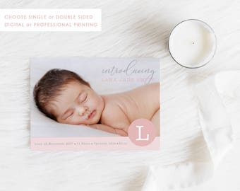 Digital Birth Announcement Card, Printable Baby Thank You, Baby Girl Card, Photo Announcement, Free Colour Changes, Pink and Grey