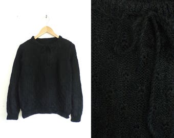 60s eyelet sweater black minimalist sweater hand knit acrylic sweater 1960s mad men lightweight tie neck sweater top womens jumper small