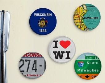 I Love Milwaukee Wisconsin Glass Magnets