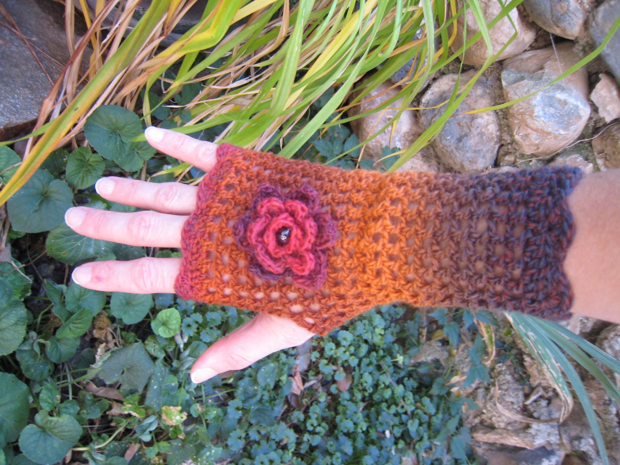 Orange Mittens fingerless gloves mittens flower victorian