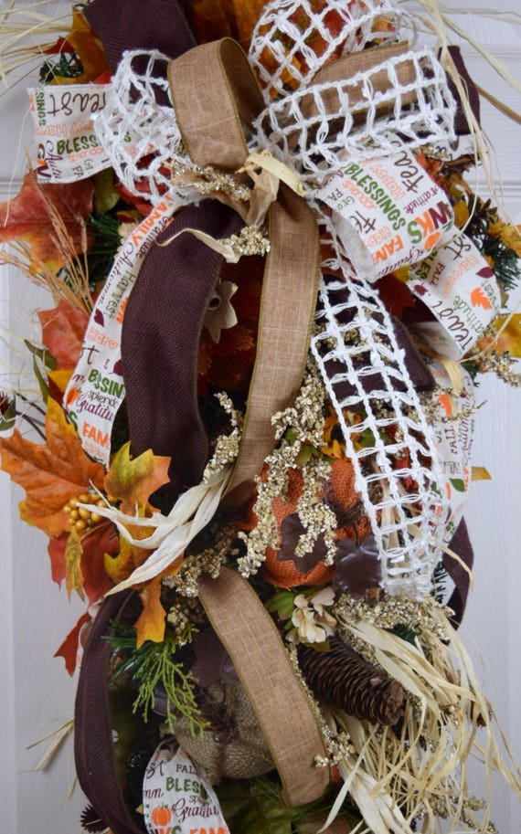 Fall Orange Rust Brown and Beige Teardrop Swag with Burlap Pumpkins Leaves and Pine Cones; Rustic Country Thanksgiving Wreath Fall Decor