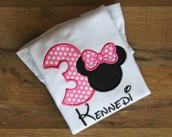 Minnie Mouse 3 Birthday shirt. Minnie birthday shirt.