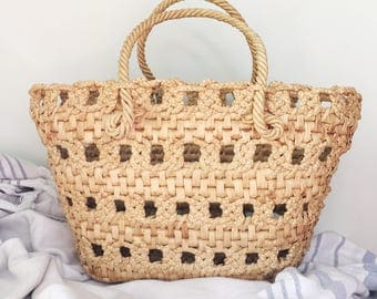 Woven and braided market / beach tote bag