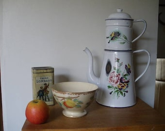 Large french vintage enamel coffee pot /Flowers on antique enamel / white coffee pot white coffee pot enamel with carnations /1920 /20's