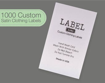 1000 Sewing Labels, Custom Clothing Tags, Custom Sew In Labels, White Satin Tags, Custom Sew In Tags, 100% Washable, Delivered CUT