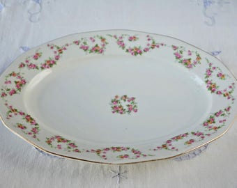 Vintage oval serving platter - Porcelain - Made in Czechoslovakia