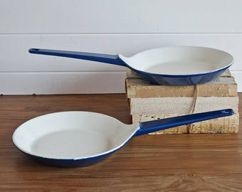 Vintage blue enamel COPCO cast iron skillets - Set of 2 frying pans - Small skillets - Designed by Michael Lax