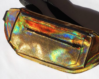 Holographic Iridescent Gold Festival Burning Man Fanny Pack Bum Bag