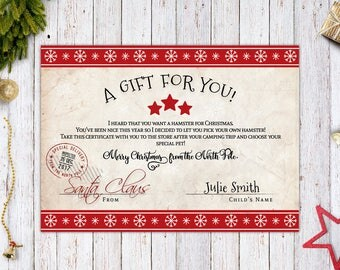 Personalized Santa Claus Gift Certificate / Gift Card / Adoption Certificate