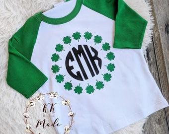 St Patrick's day shirt monogram green shamrock personalized raglan St Patrick's day girls sheets, St Patrick's day boy shirts, monogram