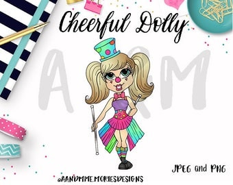 Digital Stamp, Clown. Coloring page, Cardmaking, Cheerful Dolly Digi