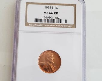 NGC Certified MS66RD 1955 S 1cent, lincoln