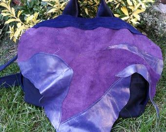 BOHO leather bag, Soft natural leather and canvas bag, artistic Leather cover, Tote Bag / Leather Handbag / Women's Handbag /