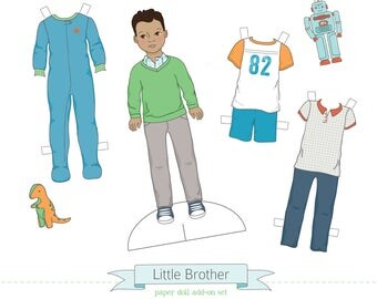 Printable LITTLE BROTHER add-on set - PDF instant download - boy paper doll, clothes, toys, colorable, coloring page, darker skin