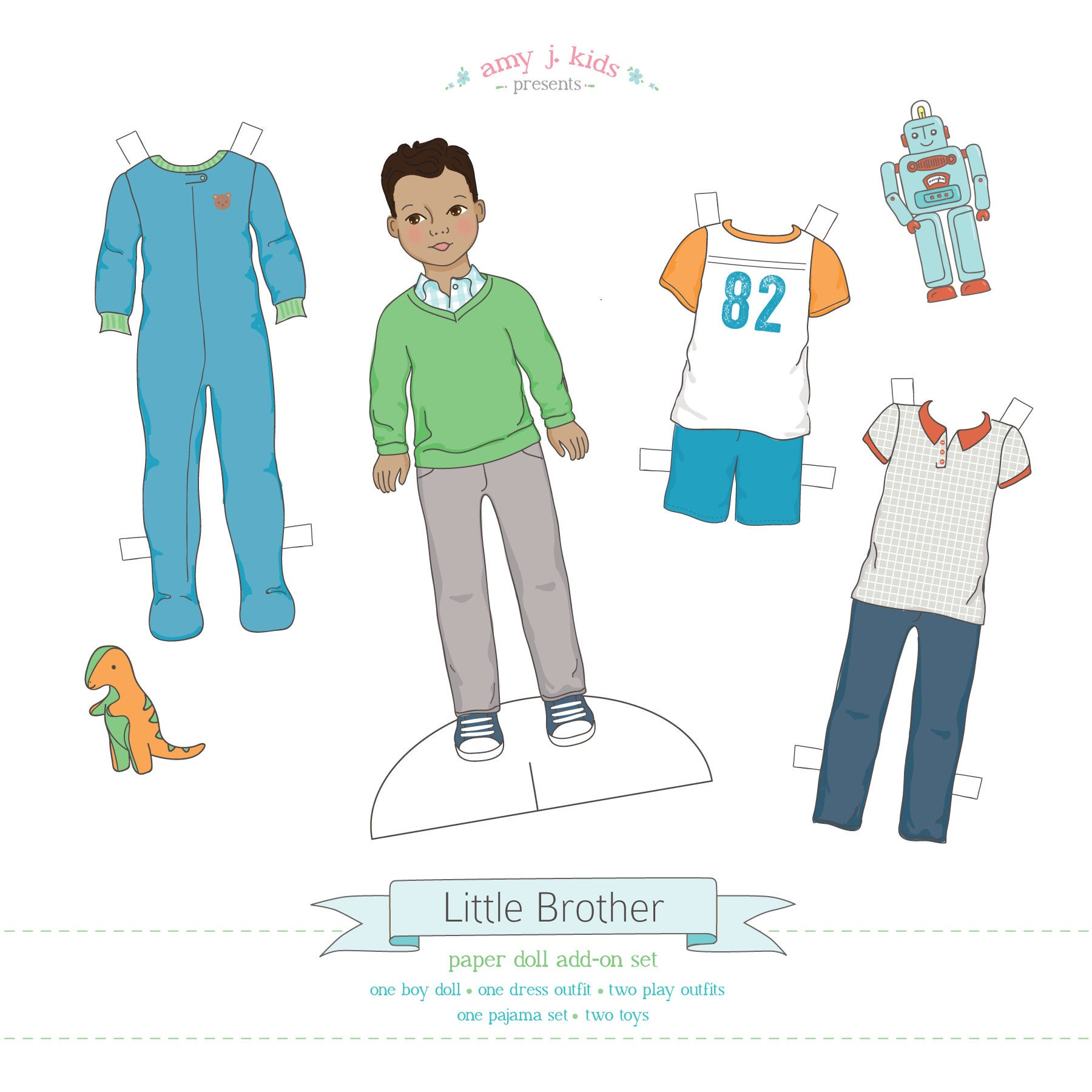 printable little brother add on set pdf instant download boy