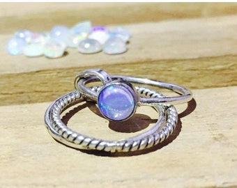 ON SALE Natural Opal Ring - October Birthstone Ring - Stacking Ring - 925 Sterling Silver - Gift for her