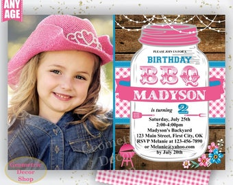 BBQ Invitation / Bbq Birthday invitation / Backyard / barbecue / barbeque / Photograph Invite Boy girl woodland pink plaid teal photo DBBQ12