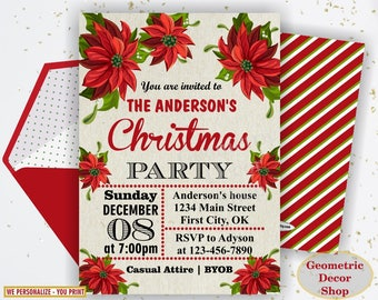 Winter Christmas Party invitation Birthday invite red green sweet invites Floral poinsettia flowers Holiday Boy Girl BDW52