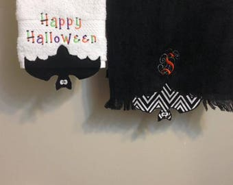 Halloween applique Bat Towel topper for machine embroidery *BONUS Cut files*