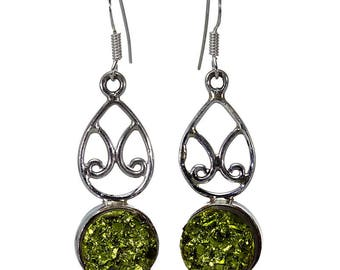 Titanium Drusy Earrings, 925 Sterling Silver, Unique only 1 piece available! color green, weight 6.7g, #9126