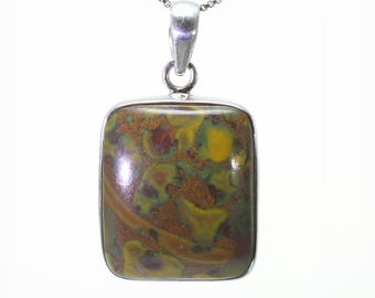 Rhyolite Pendant, 925 Sterling Silver, Unique only 1 piece available! color multicolour, weight 9.4g, #25304