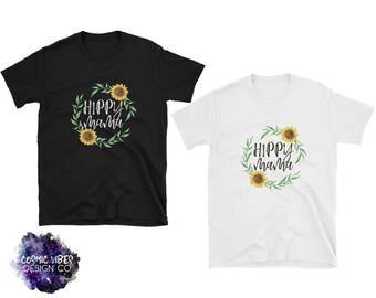 Hippy Mama Sunflower Short Sleeve Unisex T-Shirt - Cotton Jersey Knit Tee Shirt - Sunflower Floral Wreath - Natural Parenting Quote Shirt