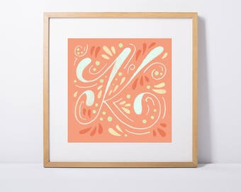 Swoopy K Art Print | 6x6 & 8x8 | Letter, Alphabet, Character, Coral, Swashes, Script, Calligraphy, Nursery, Orange, Pink, Paisley, Girly