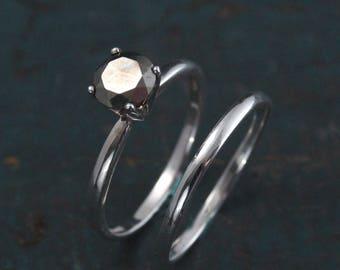 Pyrite Engagement Set--Pyrite Bridal Set~Alternative Diamond~Alternative Engagement Ring~Fool's Gold Ring~Full Cut Pyrite Ring~Unique Ring