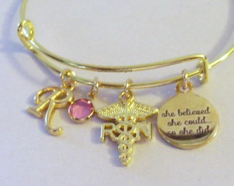 RN  She Believed She Could   W/ BIRTHSTONE Bangle - Birthday Gift Graduation Day Personalize  High School College Gift For Her Usa G1