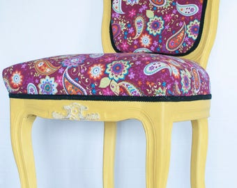 Handmade painted chair, Vintage yellow chair,
