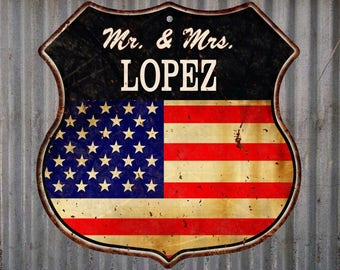 American Flag Mr. & Mrs. Lopez Family Name Metal Sign Home D
