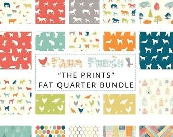 "ON SALE // FARM Fresh by Jay-Cyn Desighs for Birch Organic Fabrics -  ""The Prints"" Fat Quarter Bundle - Organic cotton - 20  Prints"