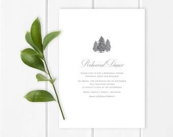 Winter Rehearsal Dinner Invitation |  Christmas rehearsal dinner invitation featuring winter evergreens, aspen pines rehearsal dinner invite
