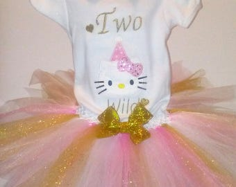 Pink and Gold Glitter Hello Kitty Two Wild 2nd Birthday Outfit