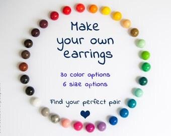 Beauty gift, Classic earrings, Everyday earrings, Simple earrings, Multi colored earrings, Multi color earrings, 8-18 mm