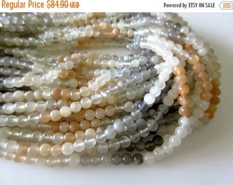 ON SALE 50% 5 Strands Wholesale Natural Peach White Grey Moonstone, Multi Moonstone 5mm Smooth Round Beads,  13.5 Inch Strand, GDS66