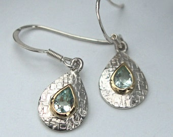 Silver and gold Green quartz Green Amethyst tear drop earrings wicker textured polished finish